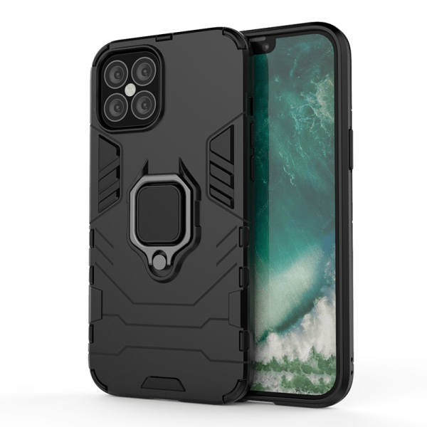 IPHONE 12 6.1 ARMOUR MAGNET RING CASE BLACK
