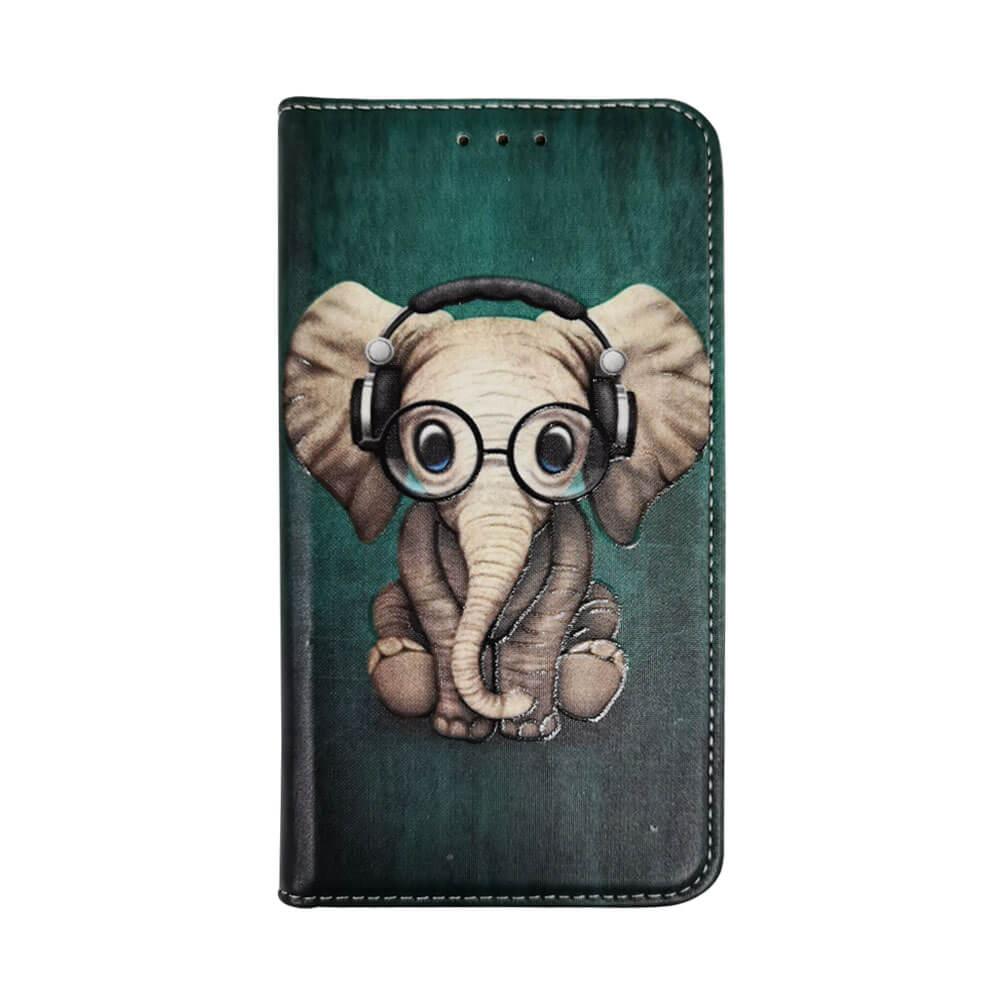 IPHONE 11 PRINTED BOOK CASE – ELEPHANT HEADPHONE