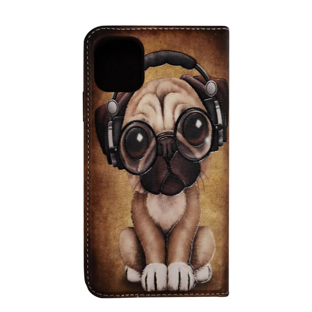 IPHONE 11 PRINTED BOOK CASE – MUSIC DOG