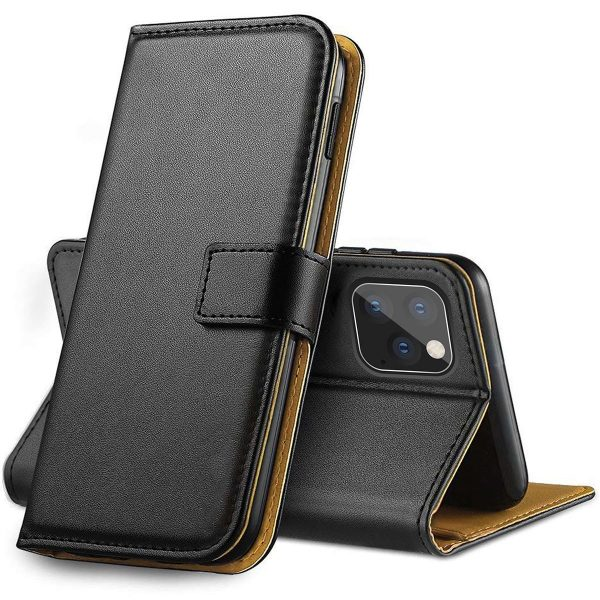 IPHONE 12 6.1 PU LEATHER WALLET CASE – BLACK