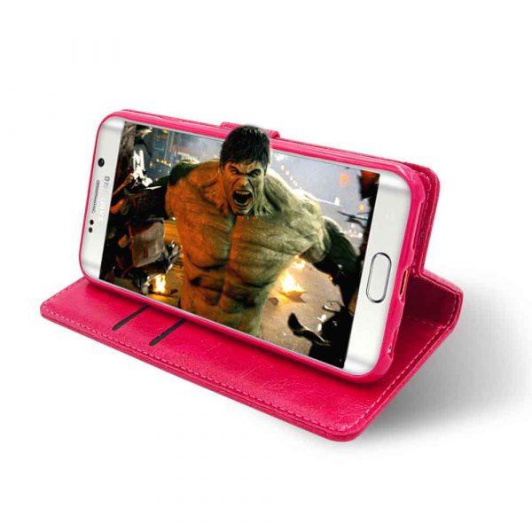 ISHOCK SAMSUNG GALAXY S6 PU LEATHER WALLET CASE – PINK