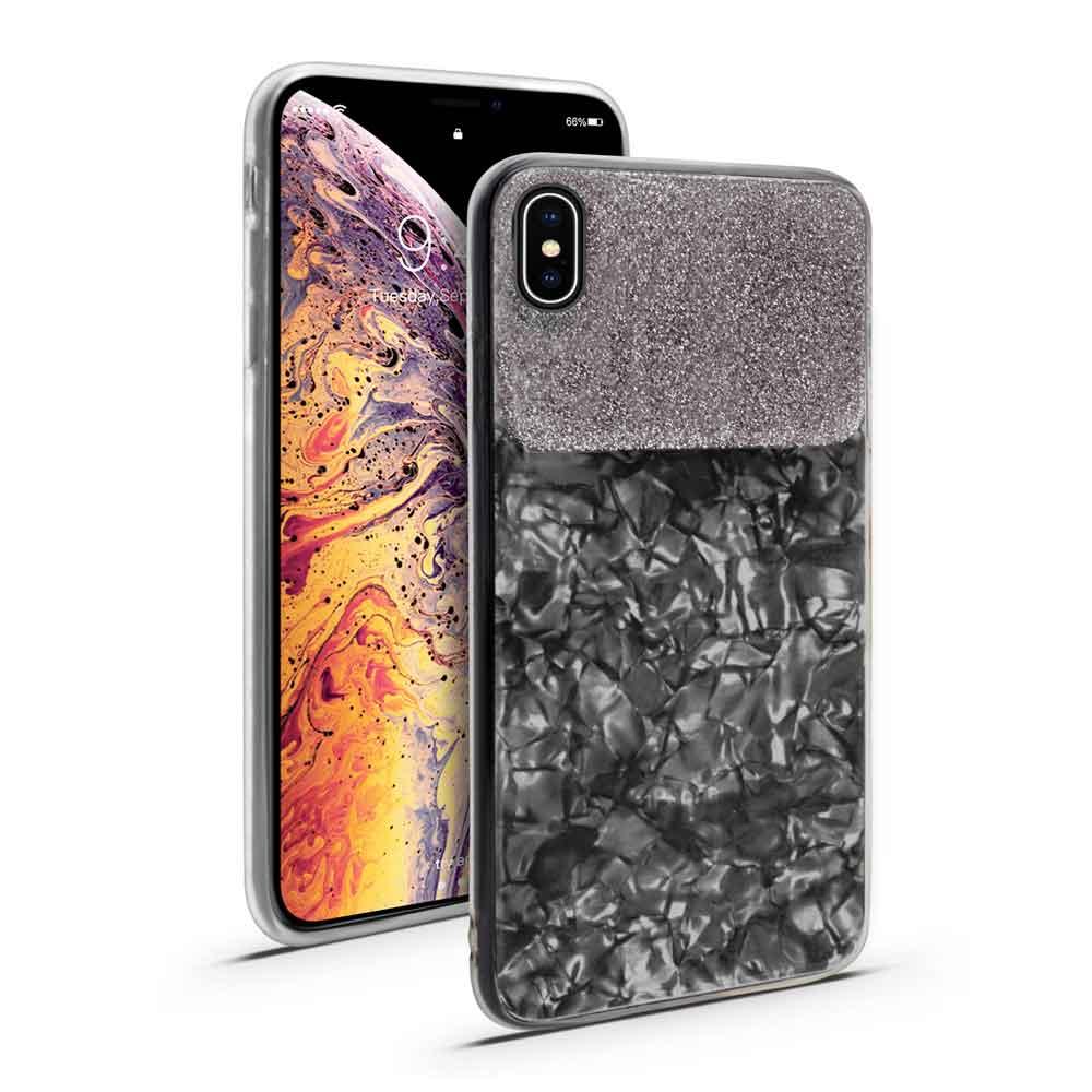IPHONE XS MAX MARBLE GLITTER HARD CASE – BLACK