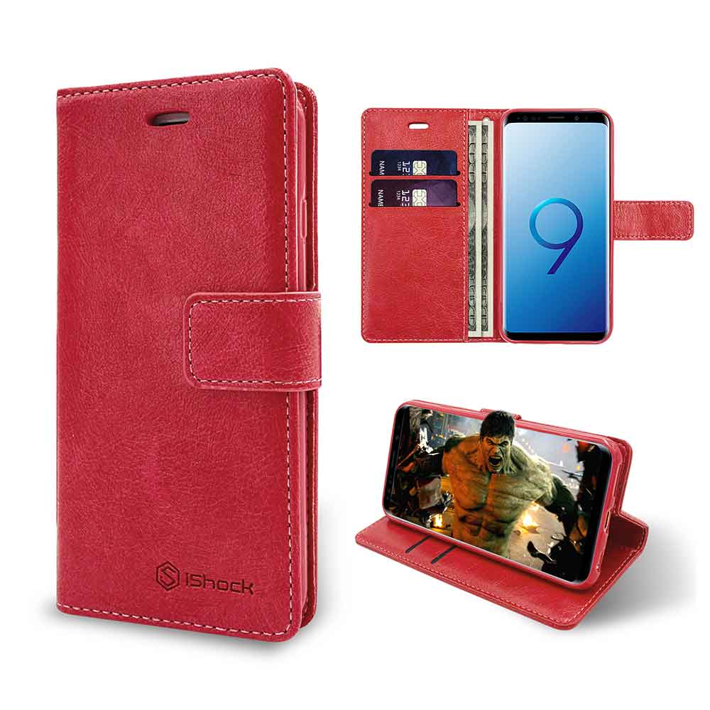 ISHOCK SAMSUNG GALAXY S9 PU LEATHER WALLET CASE – RED