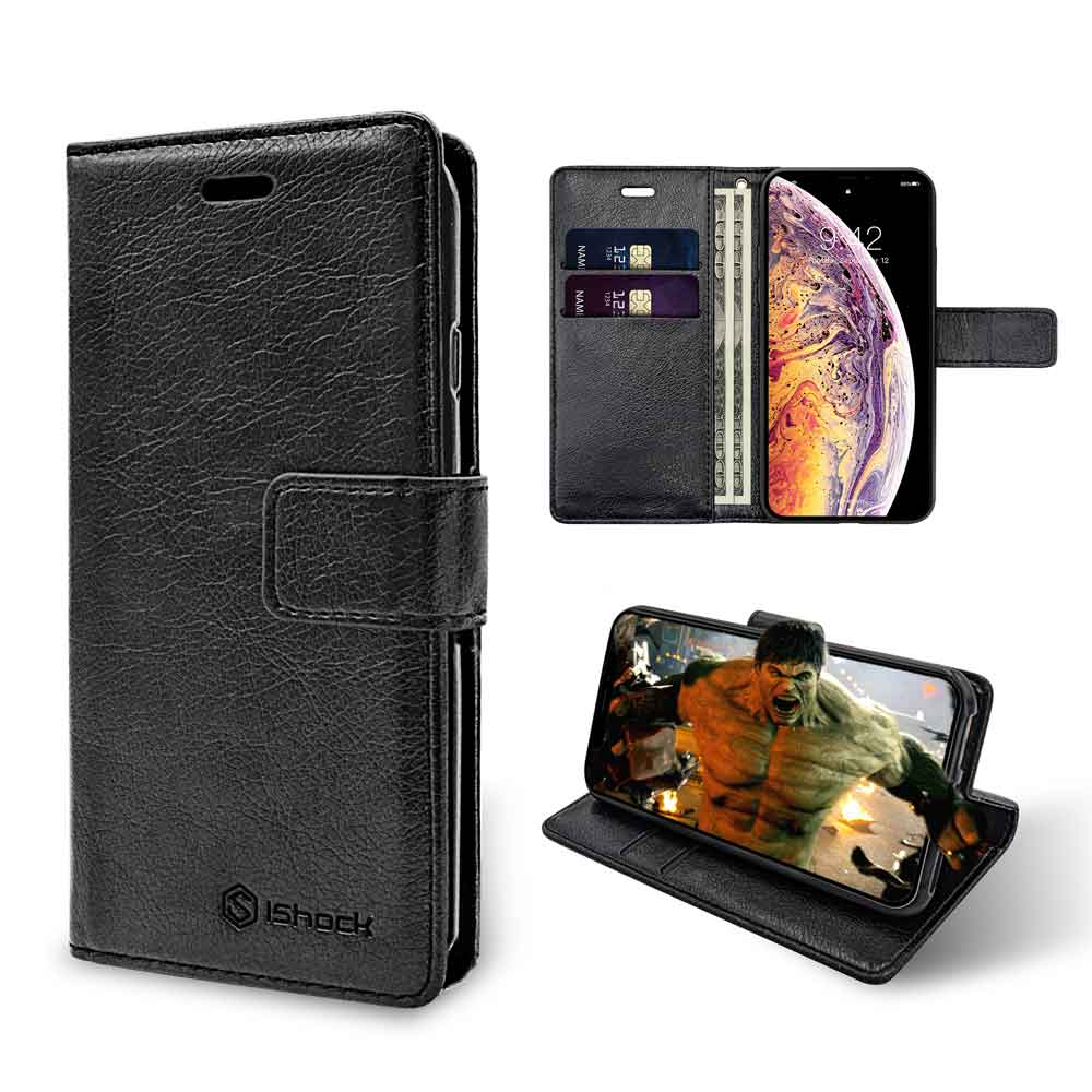 ISHOCK IPHONE XS MAX PU LEATHER WALLET CASE – BLACK