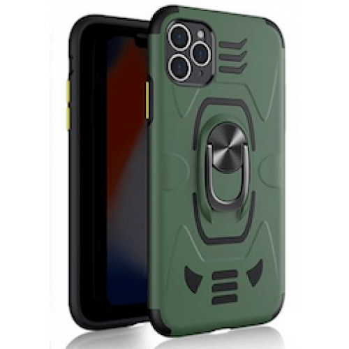 IPHONE XS MAX 6.5 ARMOUR MAGNET RING ROBO CLIP CASE GREEN