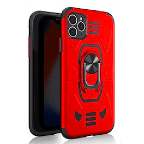 IPHONE XS MAX 6.5 ARMOUR MAGNET RING ROBO CLIP CASE RED