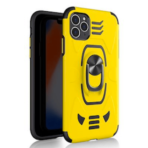 IPHONE XS MAX 6.5 ARMOUR MAGNET RING ROBO CLIP CASE YELLOW